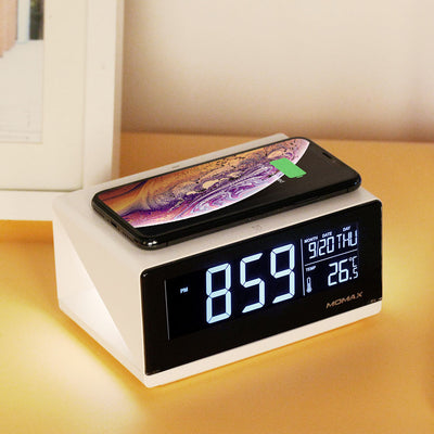 Q-Clock Digital Clock with Wireless Charger White - Momax