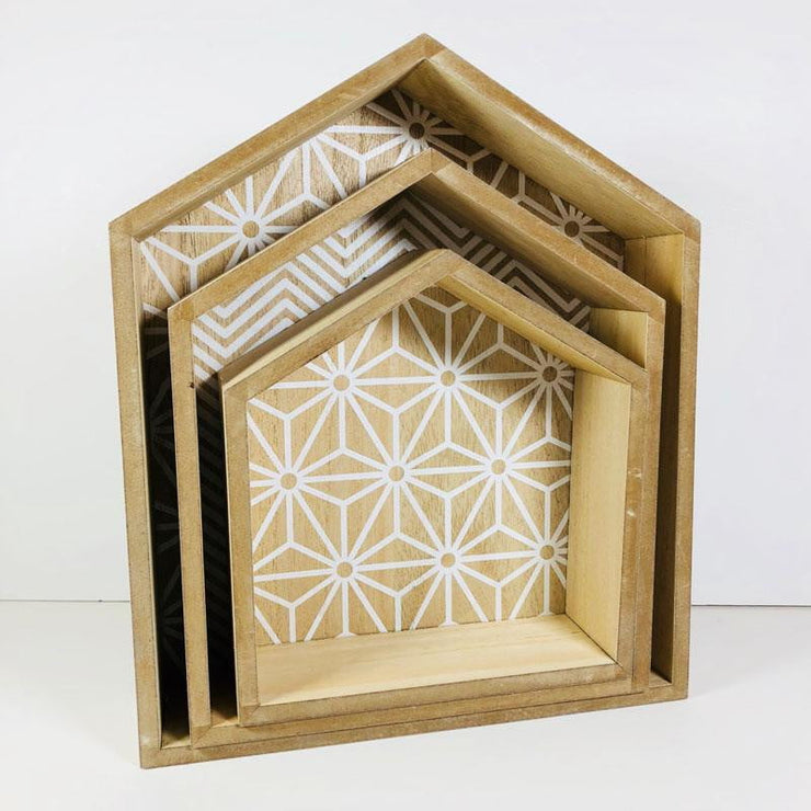 Wood House Shapes set of 3