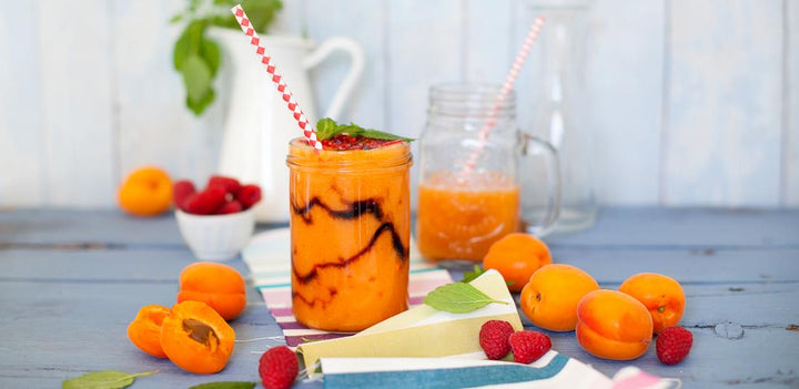 Melon, apricot and raspberry smoothie with balsamic vinegar of Modena