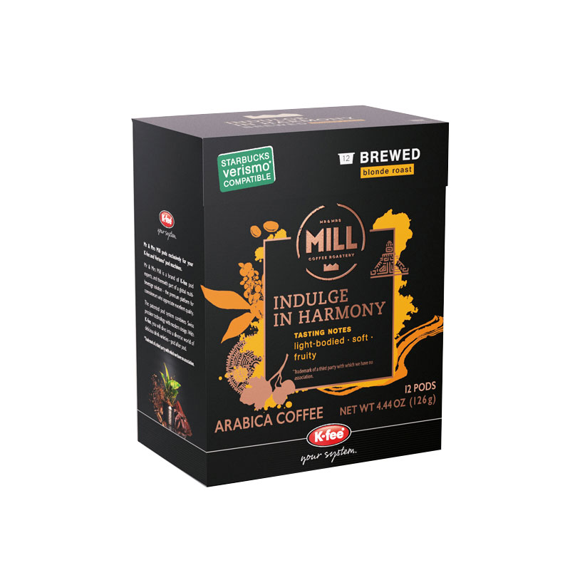 Mr and Mrs mill Indulge In Harmony arabica coffee box with orange lettering