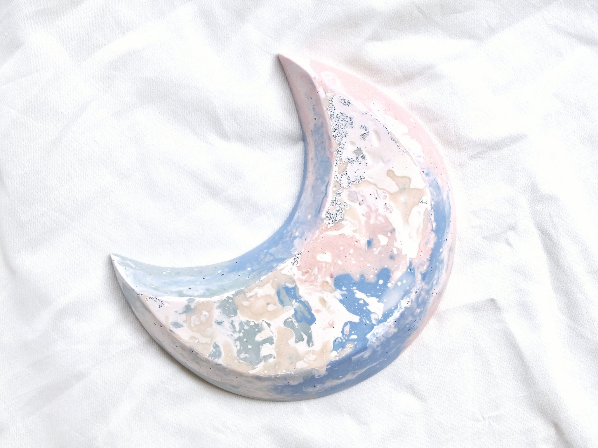 Pastel Pink, Blue & Green Crescent Moon Bowl