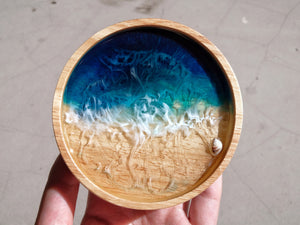 Teal Seascape Wooden Trinket Dish: #1