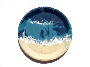 Teal Beachscape Sloped Round Dish