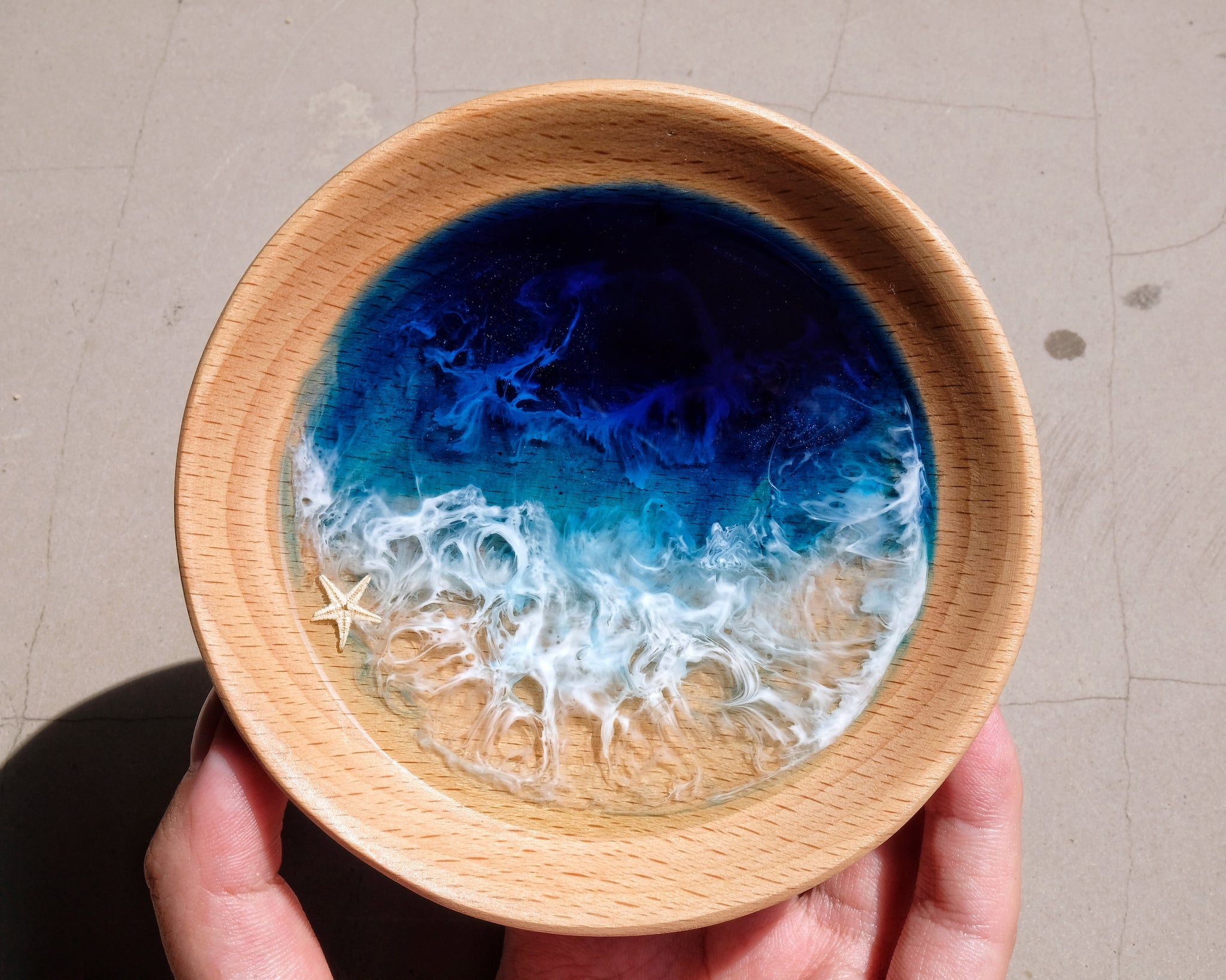 Signature Blue Seascape Wooden Trinket Tray / Trinket Dish: #5