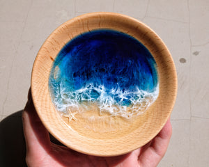 Signature Blue Seascape Wooden Trinket Tray / Trinket Dish: #1