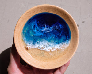 Signature Blue Seascape Wooden Trinket Tray / Trinket Dish: #3