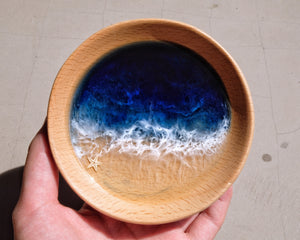 Midnight Seascape Wooden Trinket Tray / Trinket Dish: #5