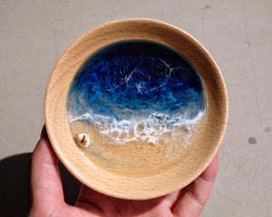 Midnight Seascape Wooden Trinket Tray / Trinket Dish: #1
