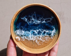 Winter Night Seascape Wood & Cork Coaster / Trinket Dish: Light #2