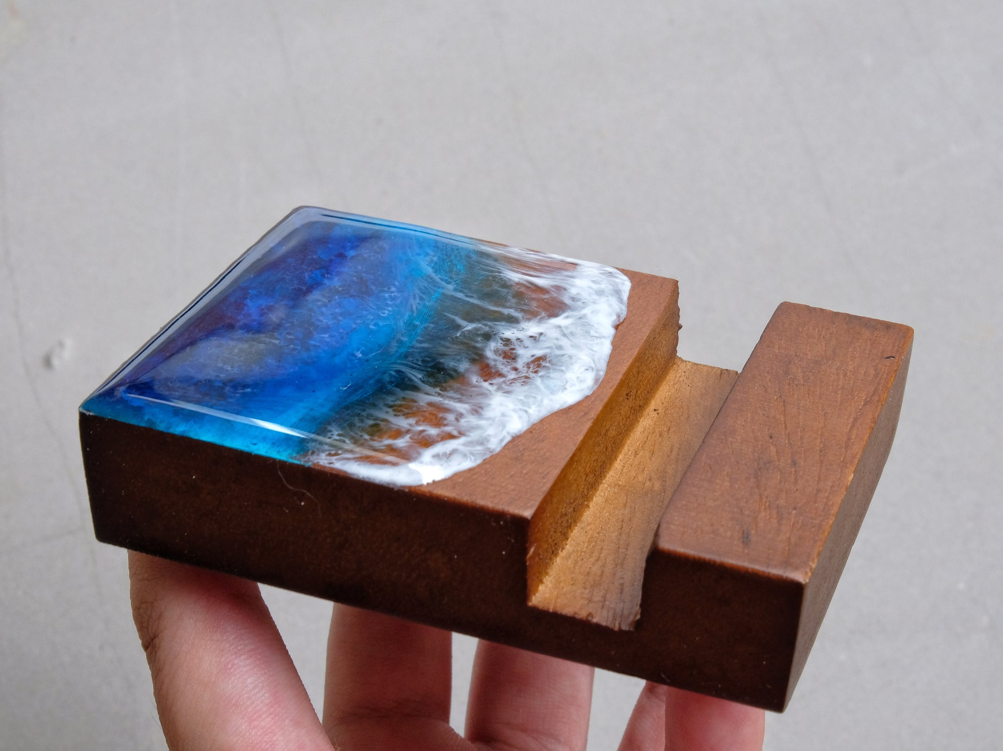 Blue & Turquoise Seascape Wooden Name Card/Phone Holder #1