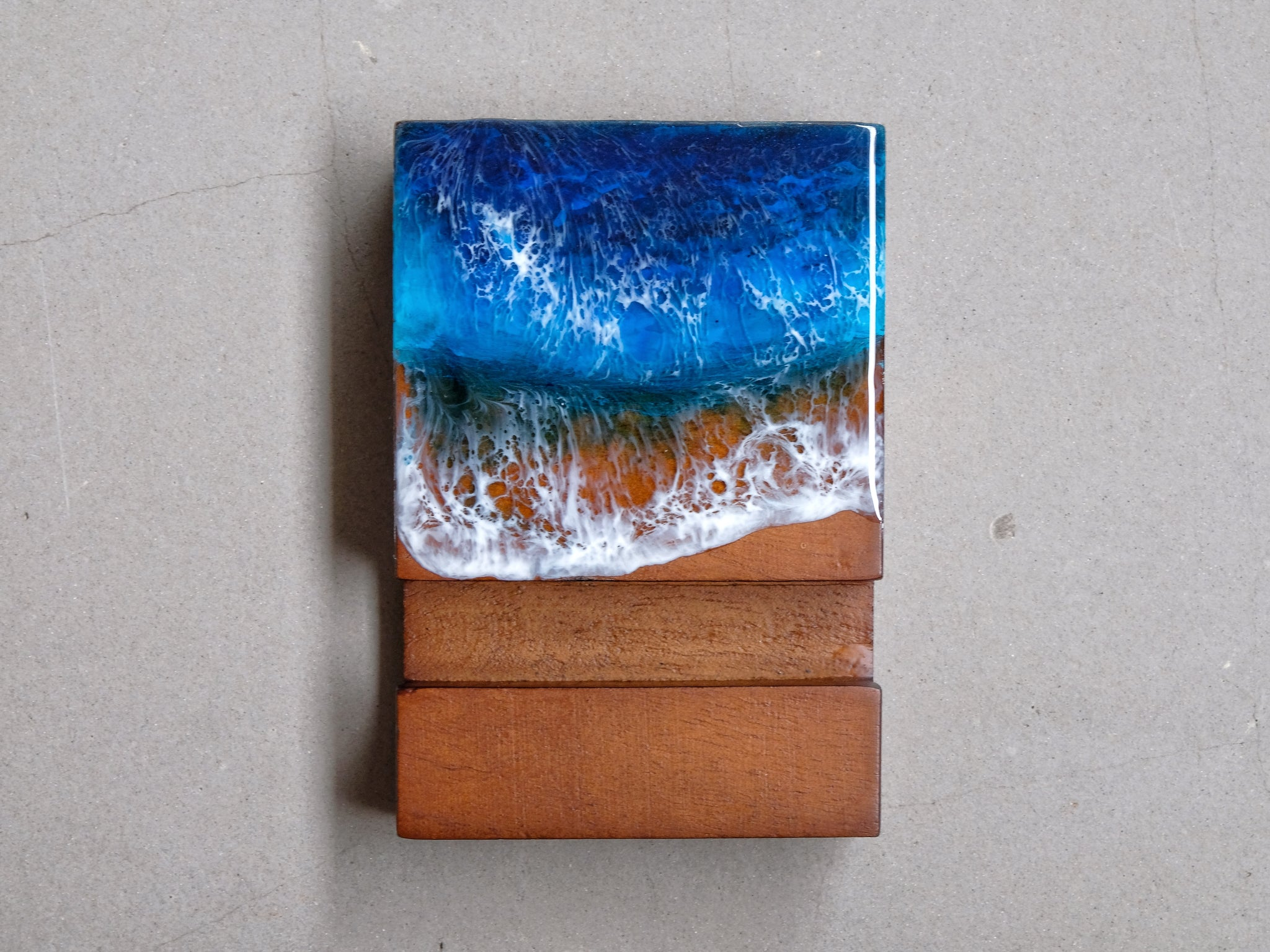 Blue & Turquoise Seascape Wooden Name Card/Phone Holder #2