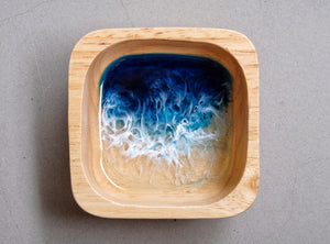 Signature Blue Seascape Square Wooden Bowl: Light #2