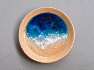 Blue-Teal Seascape Beech Wood Trinket Tray: Small #2