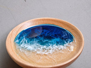 Blue-Teal Seascape Beech Wood Trinket Tray: Small #4