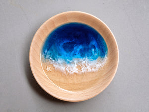Signature Blue Seascape Beech Wood Trinket Tray: Small #1