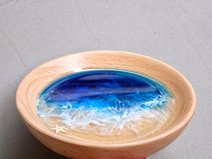 Signature Blue Seascape Beech Wood Trinket Tray: Small #2