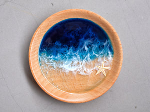 Blue-Teal Seascape Beech Wood Trinket Tray: Medium #1