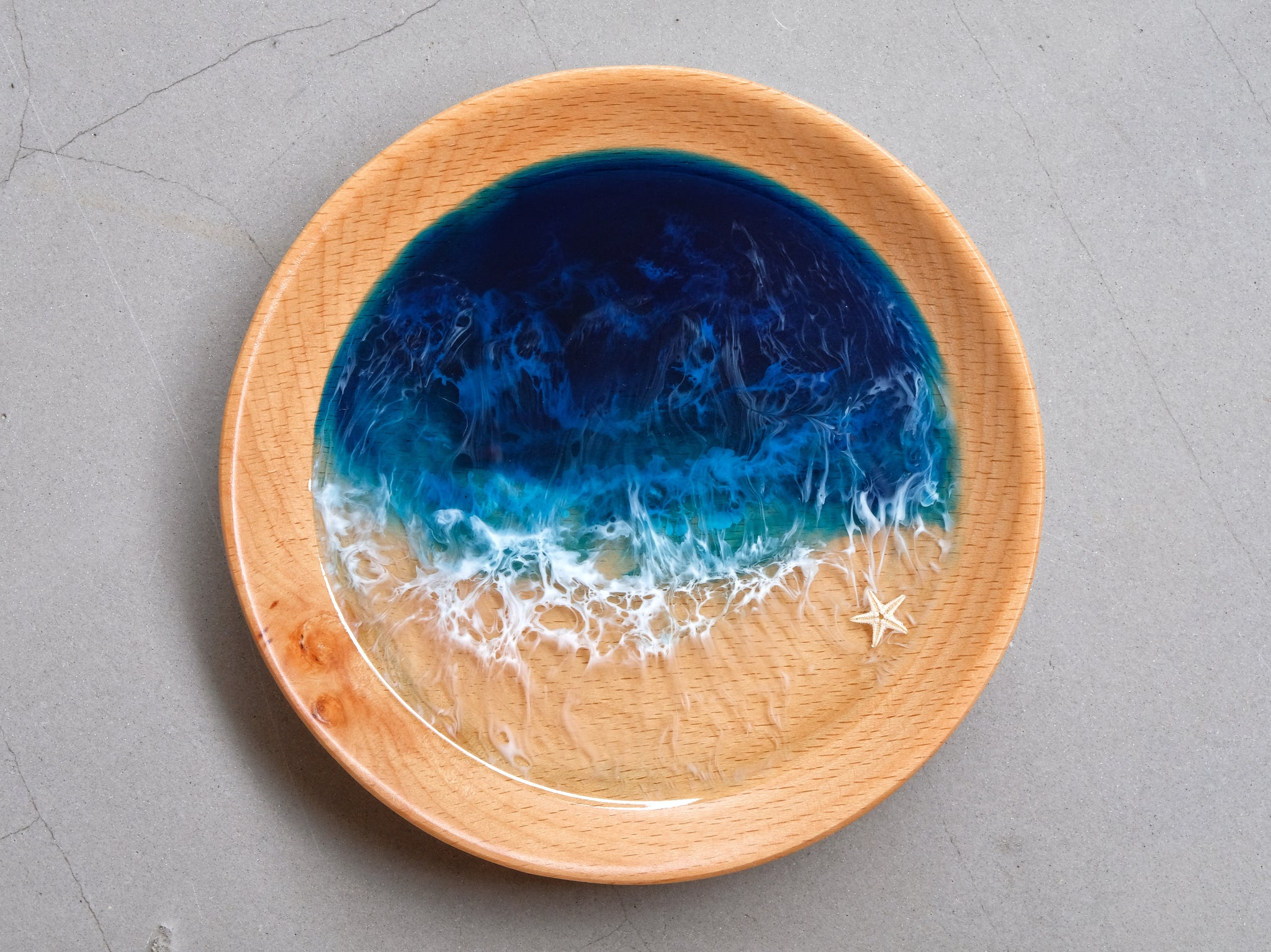 Blue-Teal Seascape Beech Wood Trinket Tray: Medium #2