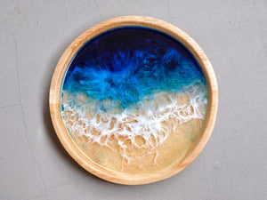 Signature Blue Seascape Light Wood Trinket Tray: Small #2