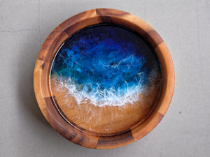 Signature Blue Seascape Striped Wooden Bowl #1 (Food-Safe)