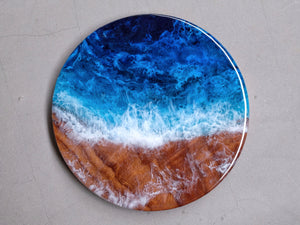 Blue & Turquoise Seascape Wooden Round (Food-Safe)