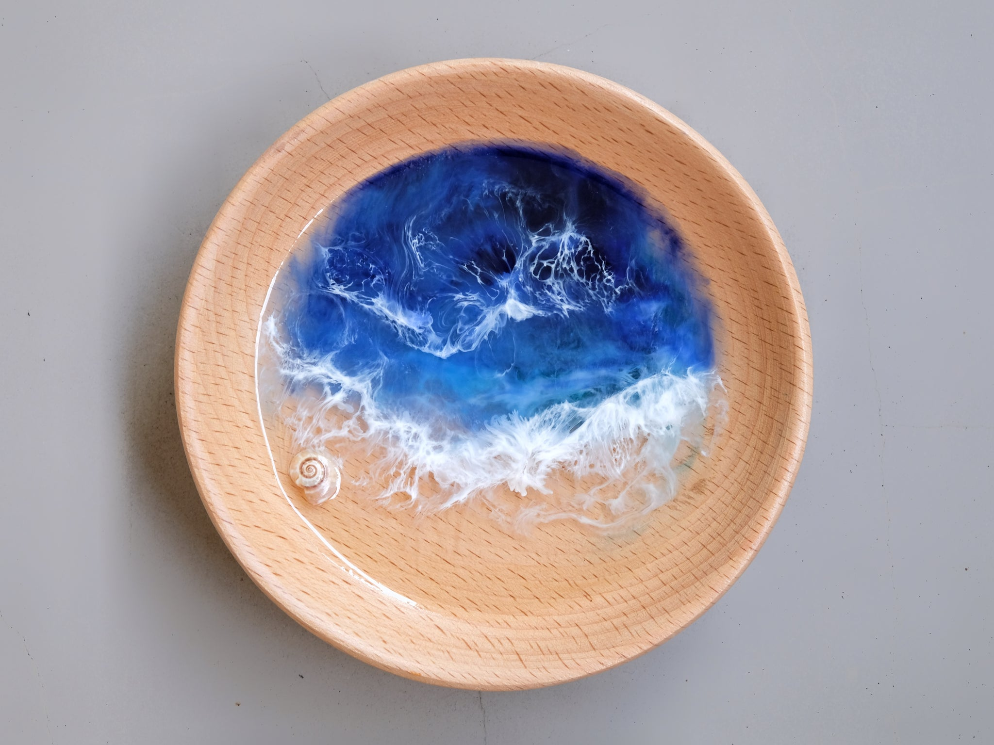 Deep Blue Seascape Beech Wood Trinket Tray