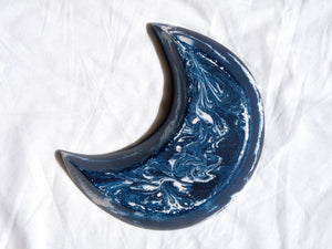 Blue & Gold Starry Night Crescent Moon Bowl