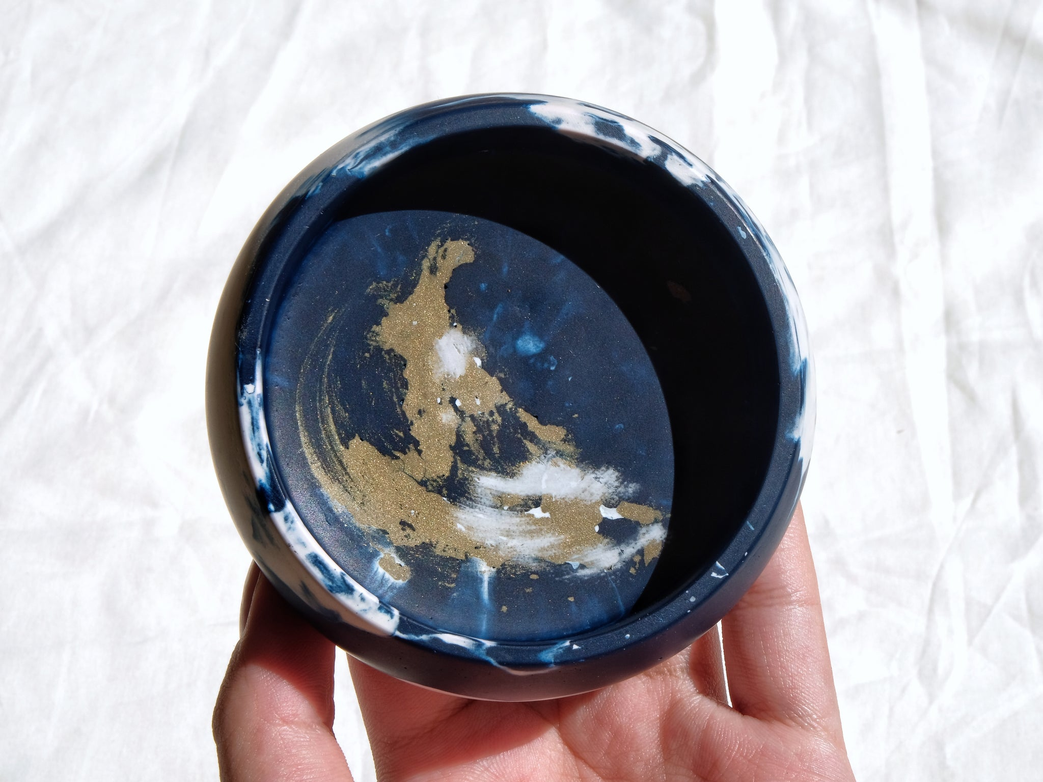 Blue & Gold Starry Night Trinket Bowl