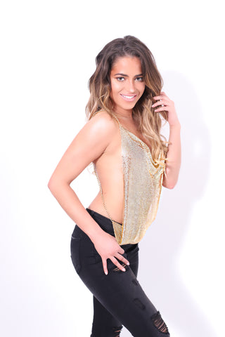 GOLD METALLIC CROP TOP