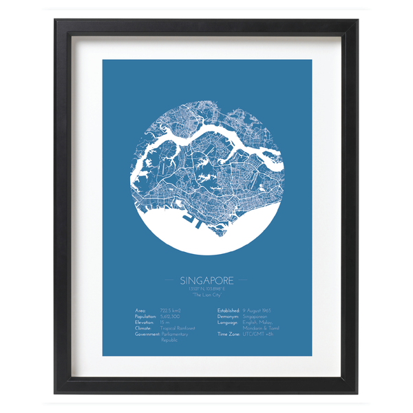 Blue Color Singapore Minimalist City Map Print - Wall Framed Poster