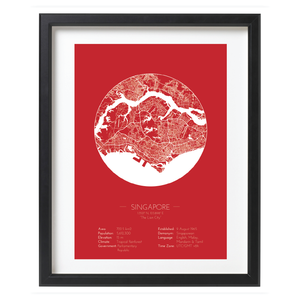 Red Color Singapore Minimalist Map Print - Framed Singapore City Map