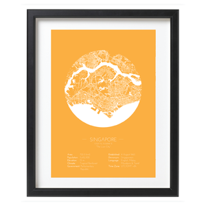 Yellow Color Singapore Minimalist Map Art - Singapore City Poster 2019