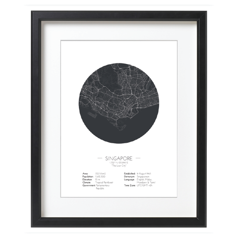 Singapore Map Minimalist Style - Black Round Map Poster Online