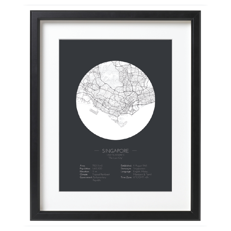 Minimalist Style Singapore Map Poster - Black Framed Map Art