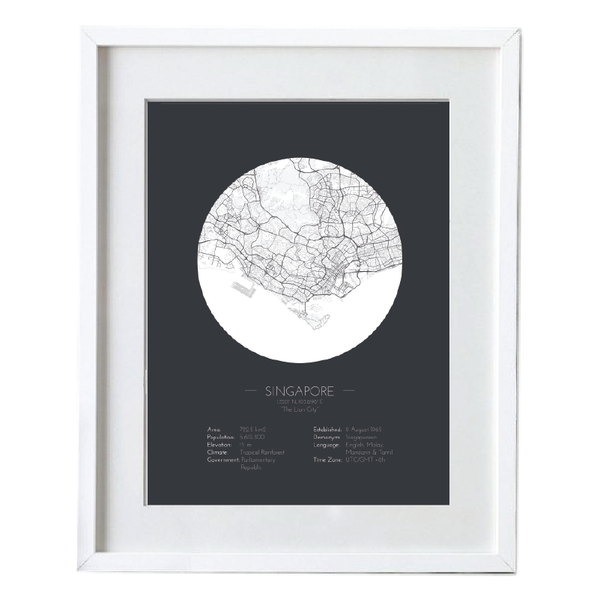 Minimalist Style Singapore Map Poster  - White Framed Map Art