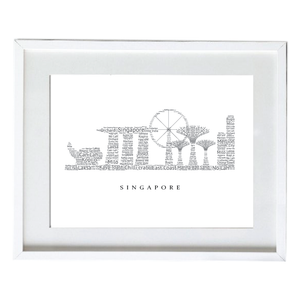 Word Cloud Singapore Skyline Poster - Beautiful Wall Framed Canvas