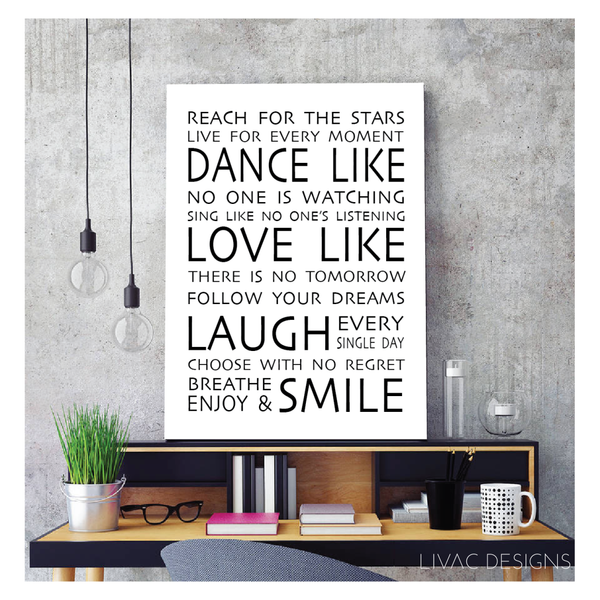 Dance, Love, Laugh in Canvas - Beautiful Motivational Quotes Word Art