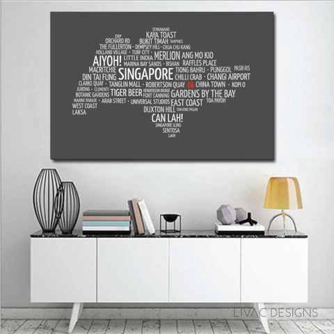 Elegant Singapore Map - Personalised Art In Canvas