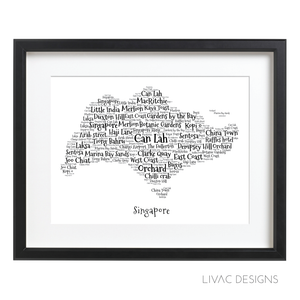 Funky Map (Singapore) - Personalized Art Black Framed (40X50Cm)
