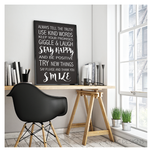 House rules #1 Beautiful Words Quote Black Canvas - Wall Decoration