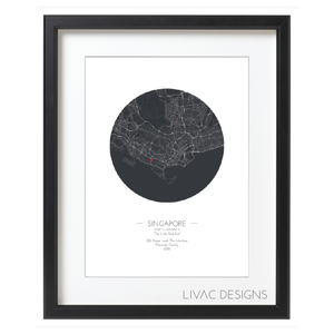 Personalized Minimal  Map Poster - Black Framed Poster Online