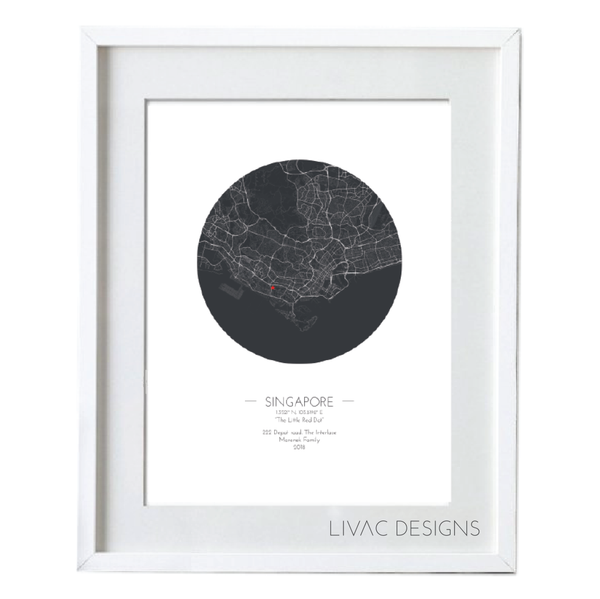 Personalized Minimal  Map Poster - White Framed Poster Online
