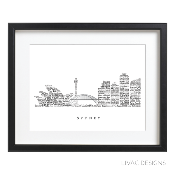 Sidney Skyline Word Artwork -  Personalized Word Sidney Poster Online