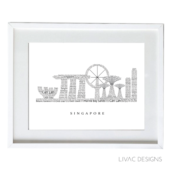 Singapore Skyline - Personalised Design Framed Designs