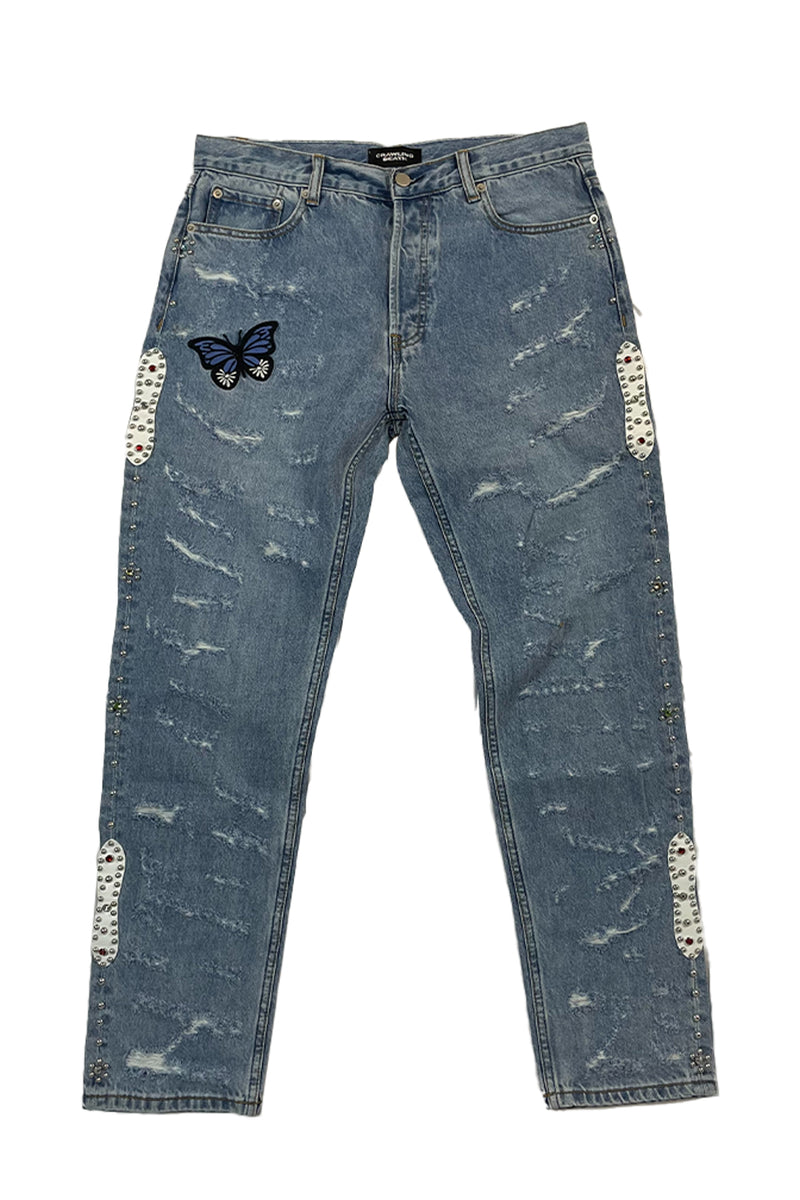 Butterfly Rhinestone Damaged Denim
