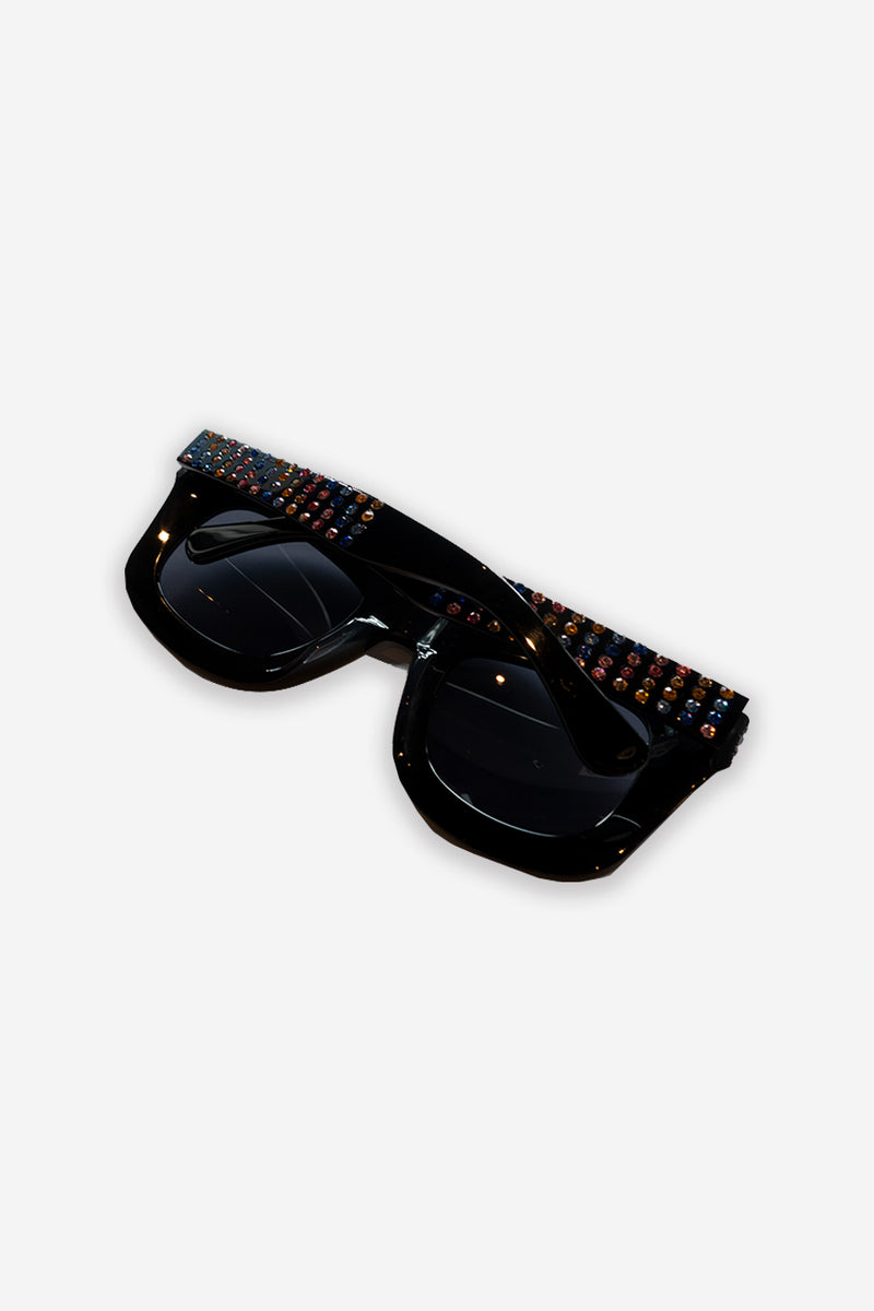 MULTI RHINESTONE SUNGLASSES (CLEAR LENS)