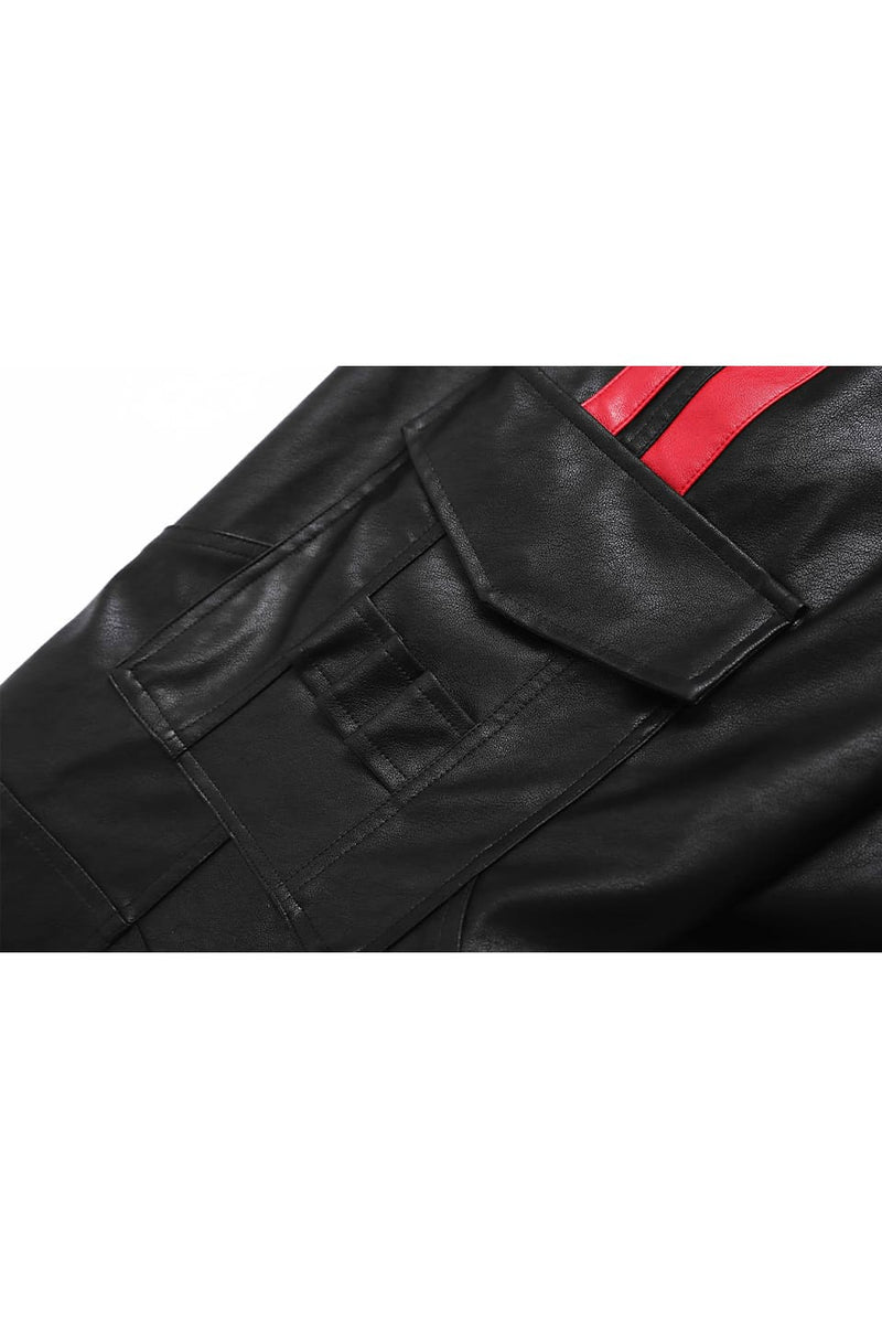 BLACK VEGAN LEATHER CARGOS