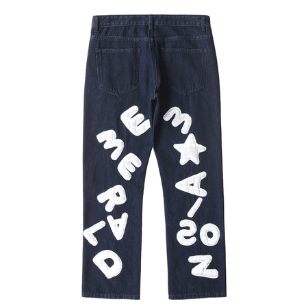 【Pre-Order】LOOSE STRAIGHT JEANS WITH EMBROIDERED LETTERS