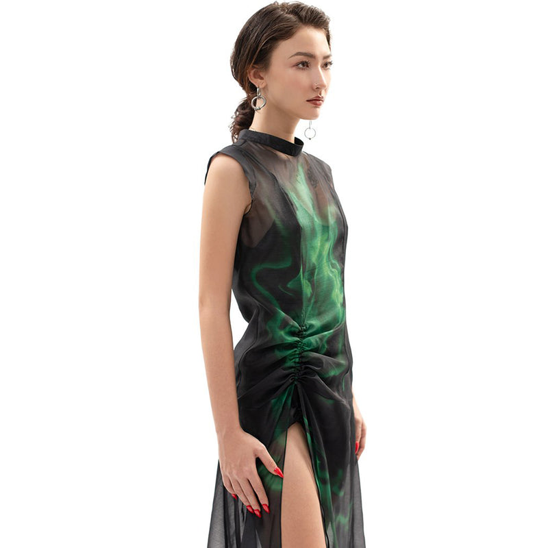 Green Flame Gathered Dress