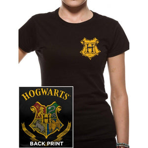 Harry Potter Ladies T-Shirt Hogwarts Crest Colour-The Curious Emporium